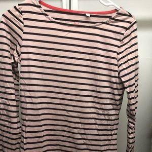 Boden pink/navy striped top